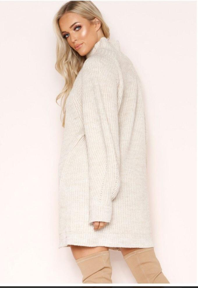 LEYAH BEIGE CHUNKY KNIT JUMPER DRESS J4