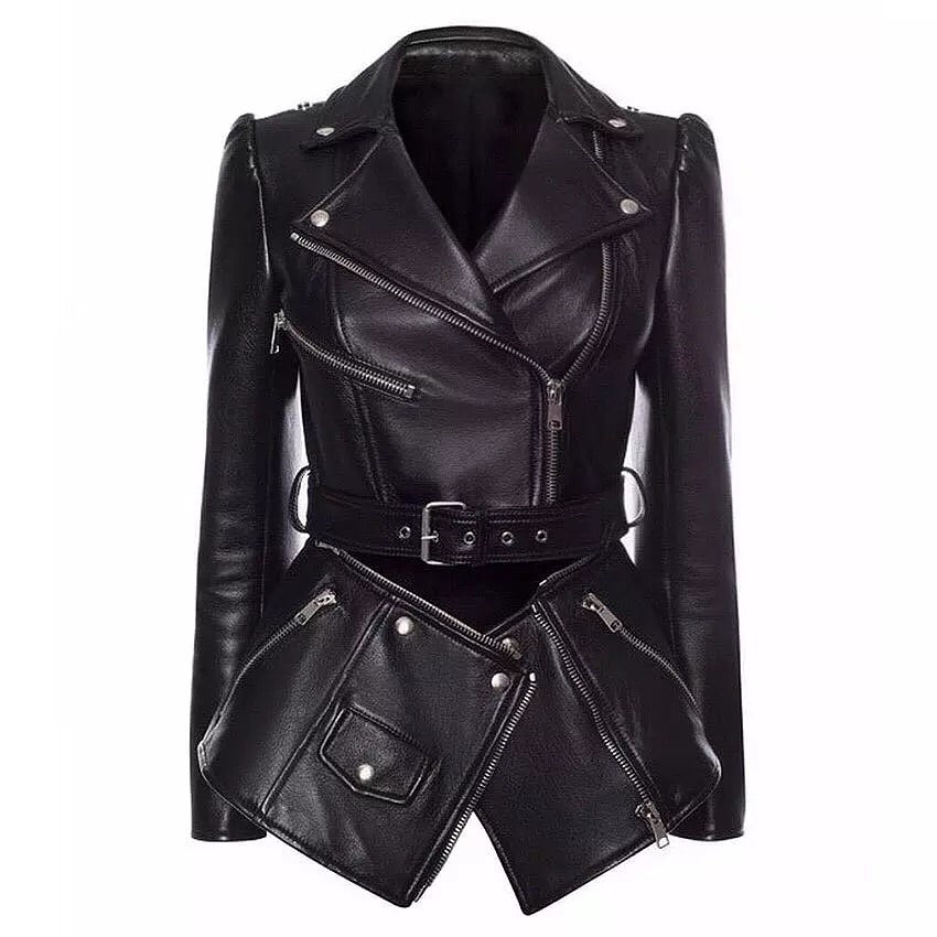 BIKER ZIP WAIST REAL PU LEATHER BLAZER