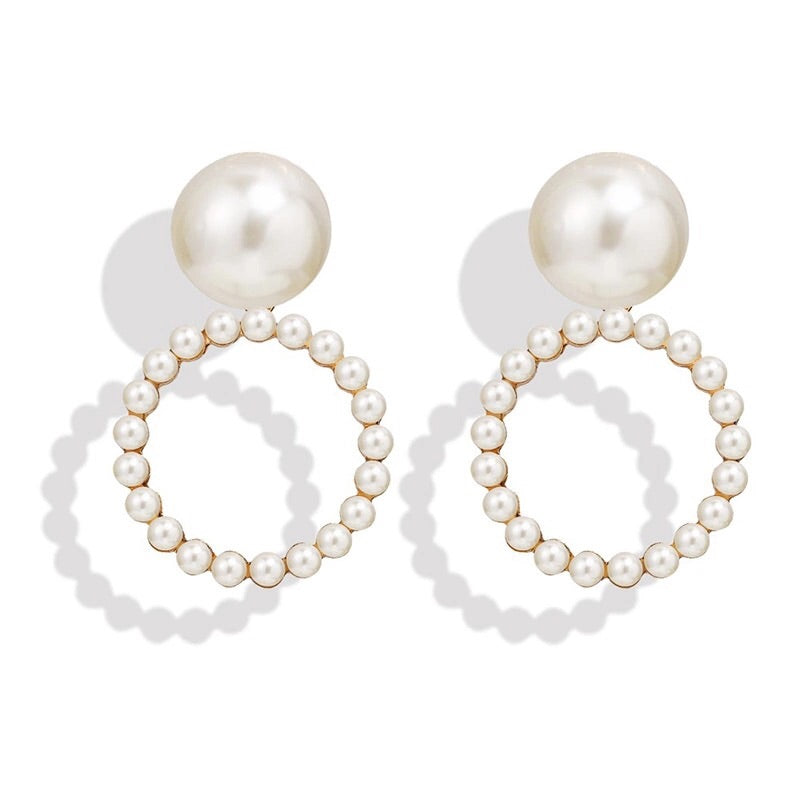 SICILY FAUX PEARL ROUND DROP EARRINGS
