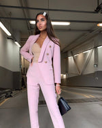 DUSTY PINK TWO PIECES SET BALMAIN STYLE