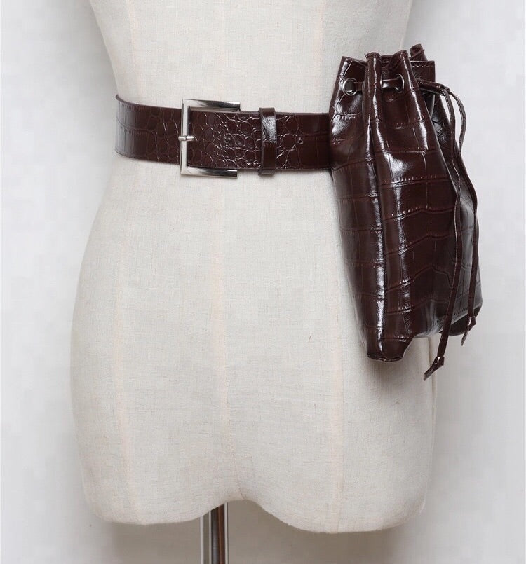 BROWN FAUX CROC DUFFLE PURSE BELT
