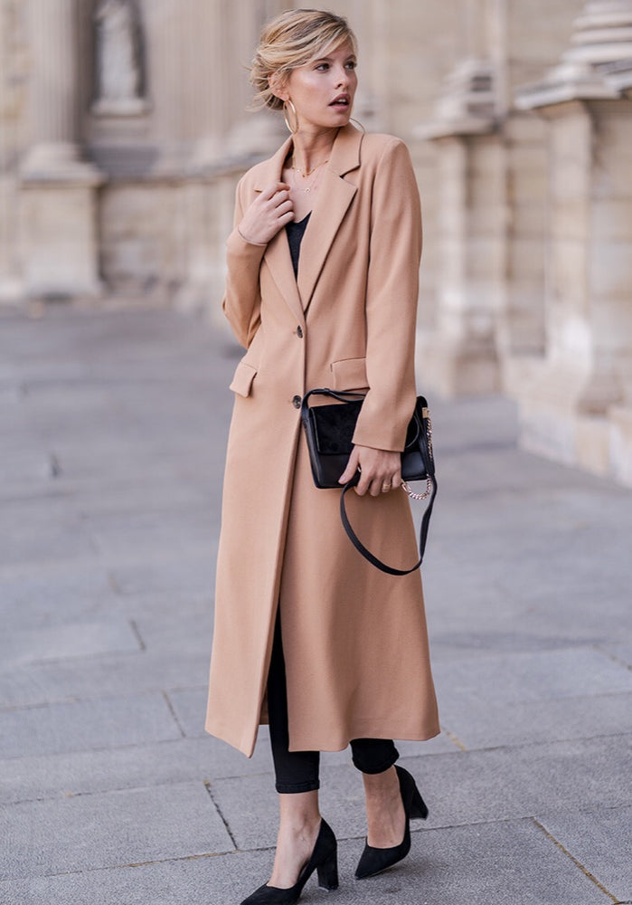 CAMEL DOUBLE BREASTED LONGLINE  COAT C01