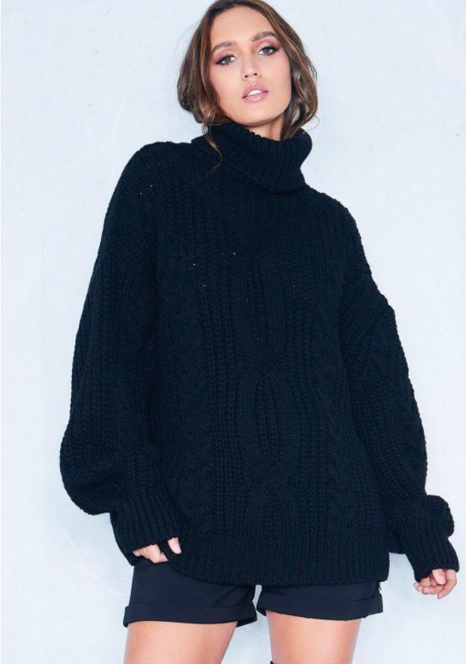 REBECCA BLACK CABLE KNIT ROLL NECK OVERSIZE JUMPER J1