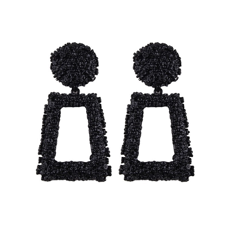 ANTALYA BLACK RECTANGULAR DROP EARRINGS