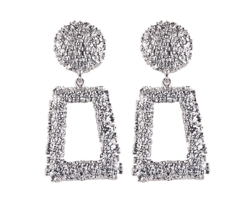 ANTALYA SILVER RECTANGULAR DROP EARRINGS