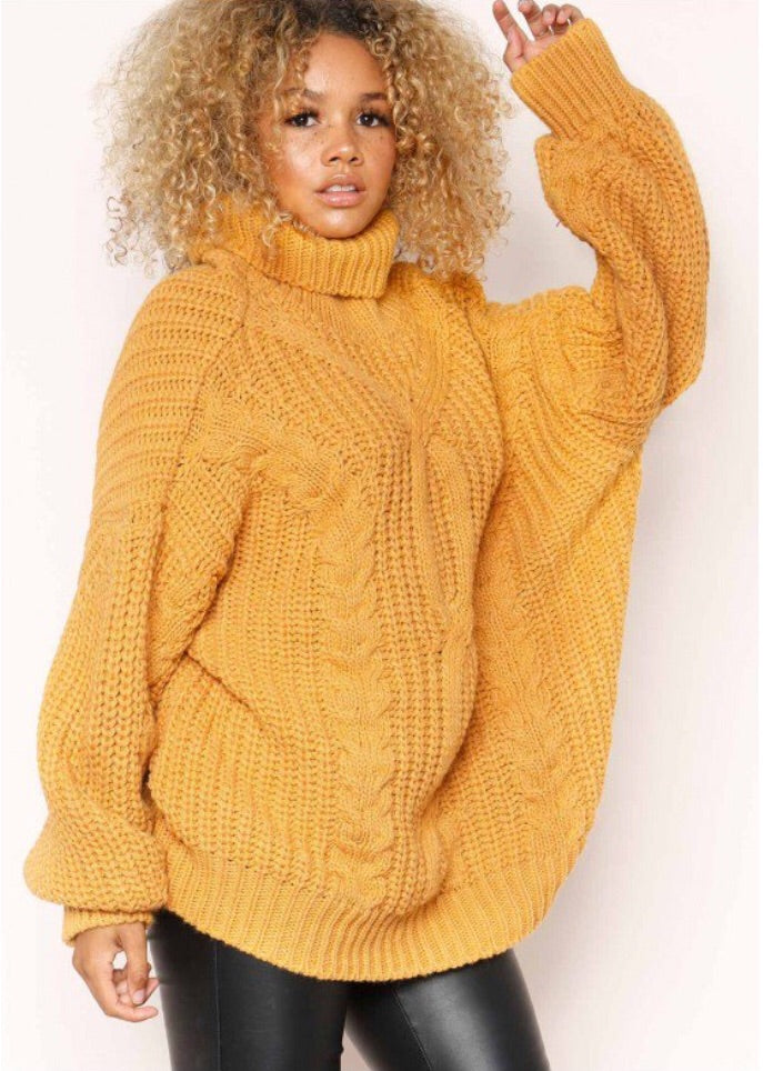 REBECCA MUSTARD CABLE KNIT ROLL NECK OVERSIZE JUMPER J1
