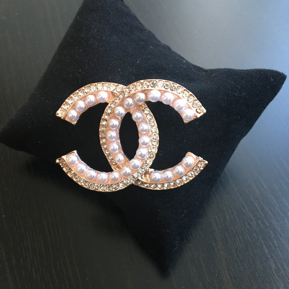 ROSE GOLD PEARLS BROOCH CC