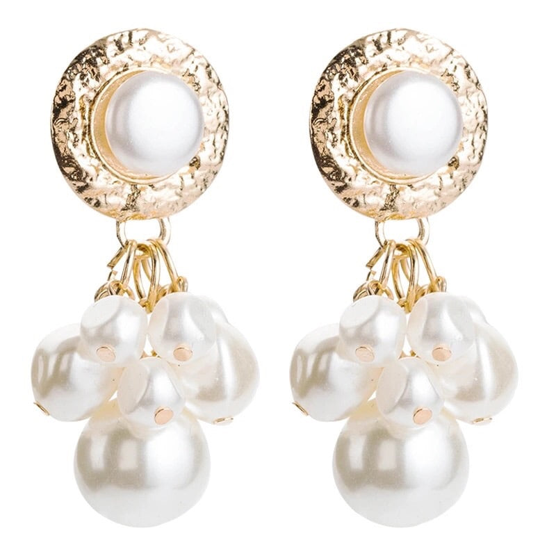 NORA FAUX PEARL  DROP EARRINGS