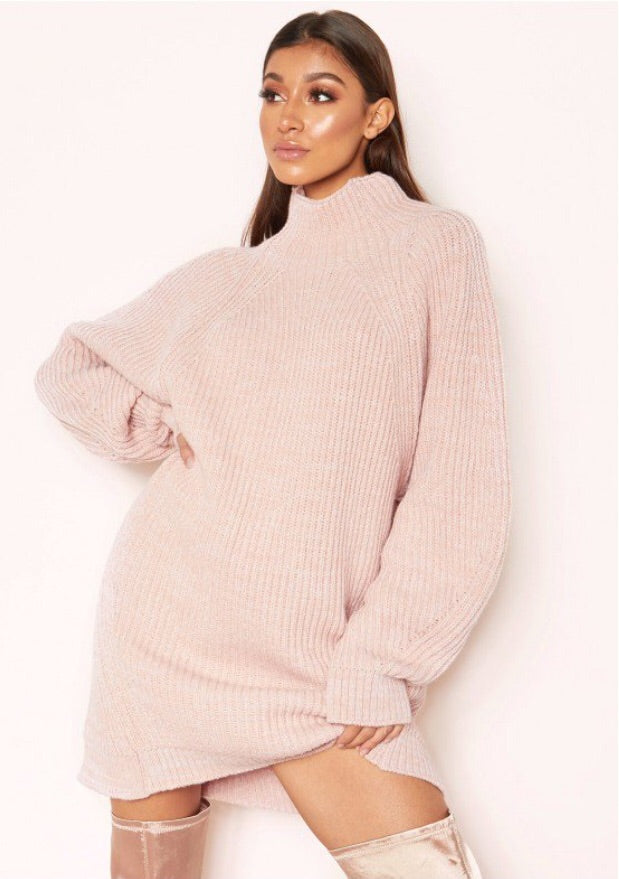 LEYAH PINK CHUNKY KNIT JUMPER DRESS J4