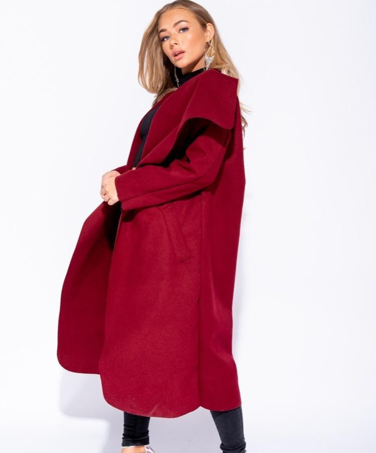 CYNTHIA WINE SHAWL COLAR SELF BELT MAXI COAT