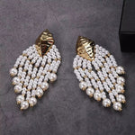 LAYA GOLD SHELL AND PEARLS DROP EARRINGS