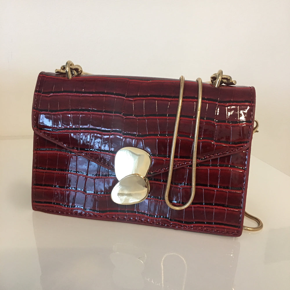 MERIDAN BURGUNDY CROC MINI BAG