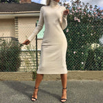 DINA BEIGE KNITTED HIGH NECK MIDI DRESS