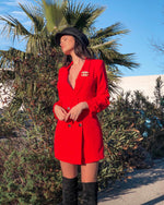 ANAÏS RED BELTED BLAZER DRESS