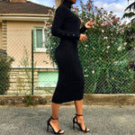 DINA BLACK KNITTED HIGH NECK MIDI DRESS