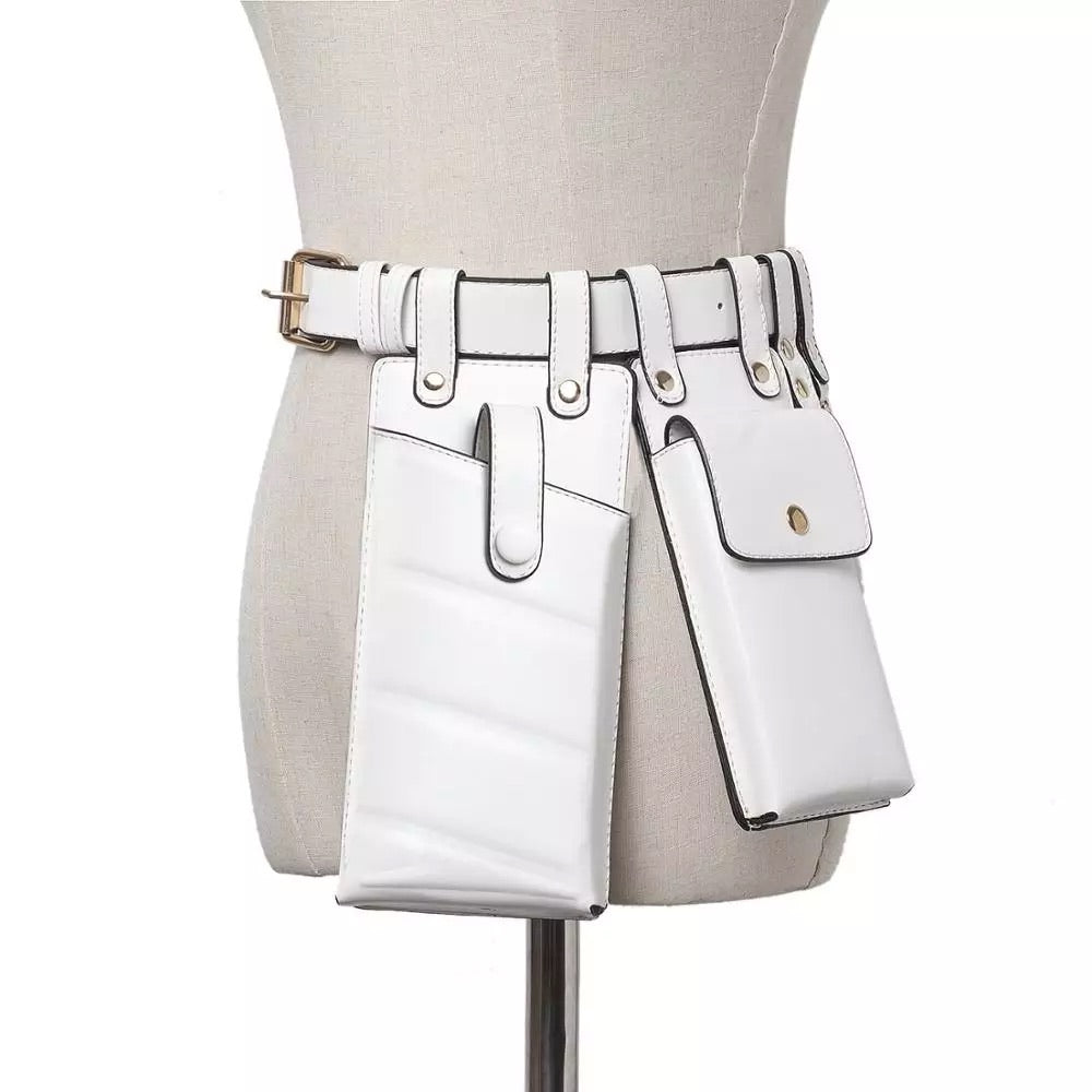 WHITE MULTIPLE POUCH BELT BACK