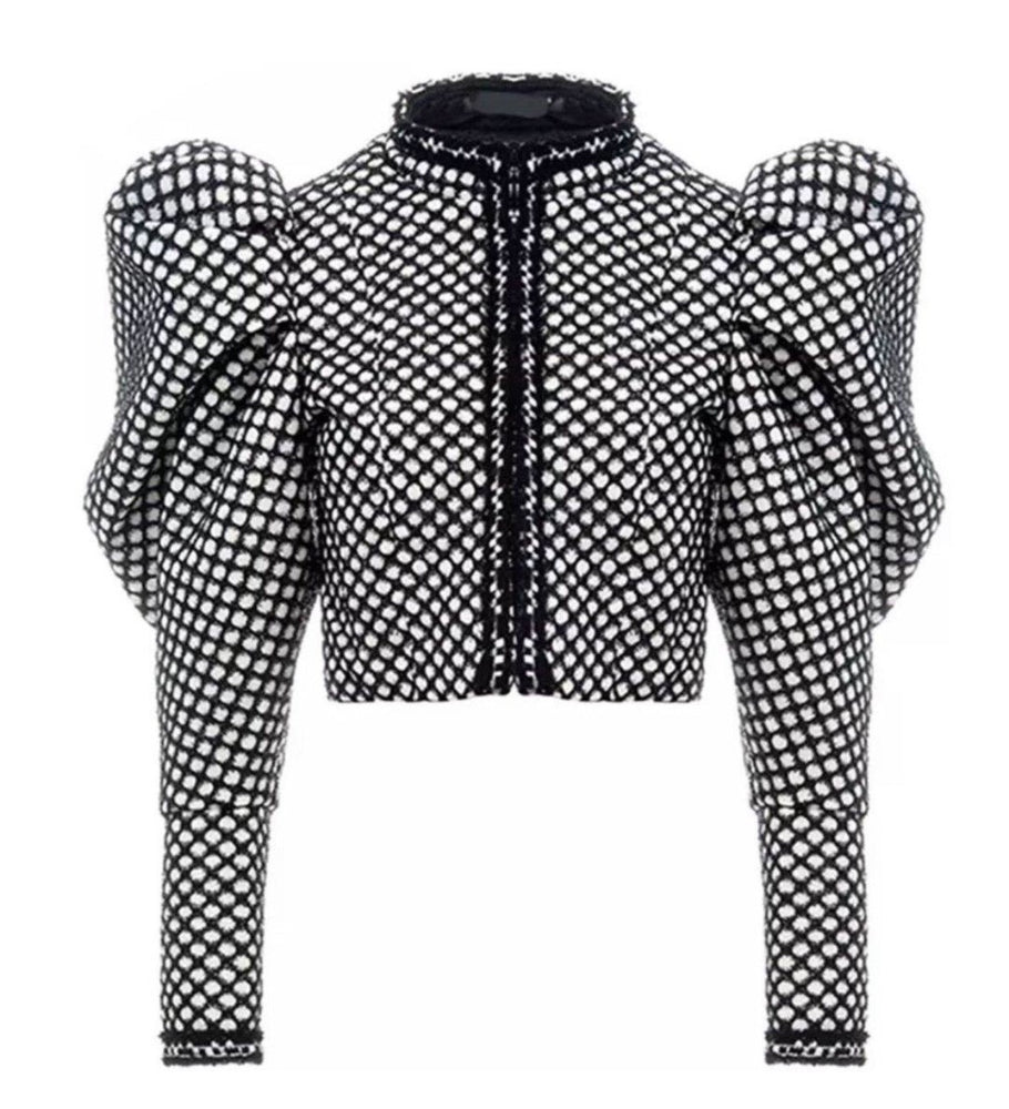 NINA BLACK & WHITE PUFF SLEEVE CROPPED JACKET