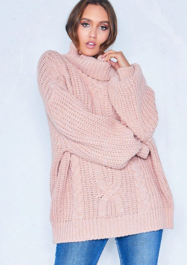 REBECCA PINK CABLE KNIT ROLL NECK OVERSIZE JUMPER J1