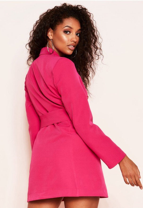 ELLA FUSHIA BELTED BLAZER DRESS