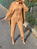 LILA OVERSIZED SHIRT AND CROPPED TROUSERS CO-ORD