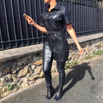 NISSA BLACK LEATHER DRESS