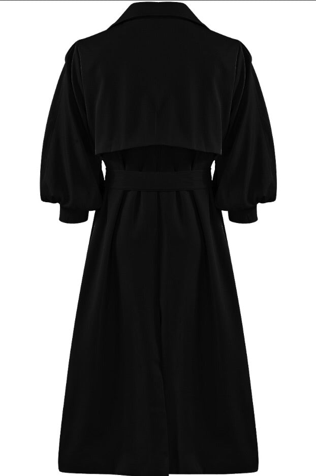 BROOKE BLACK TRENCH COAT