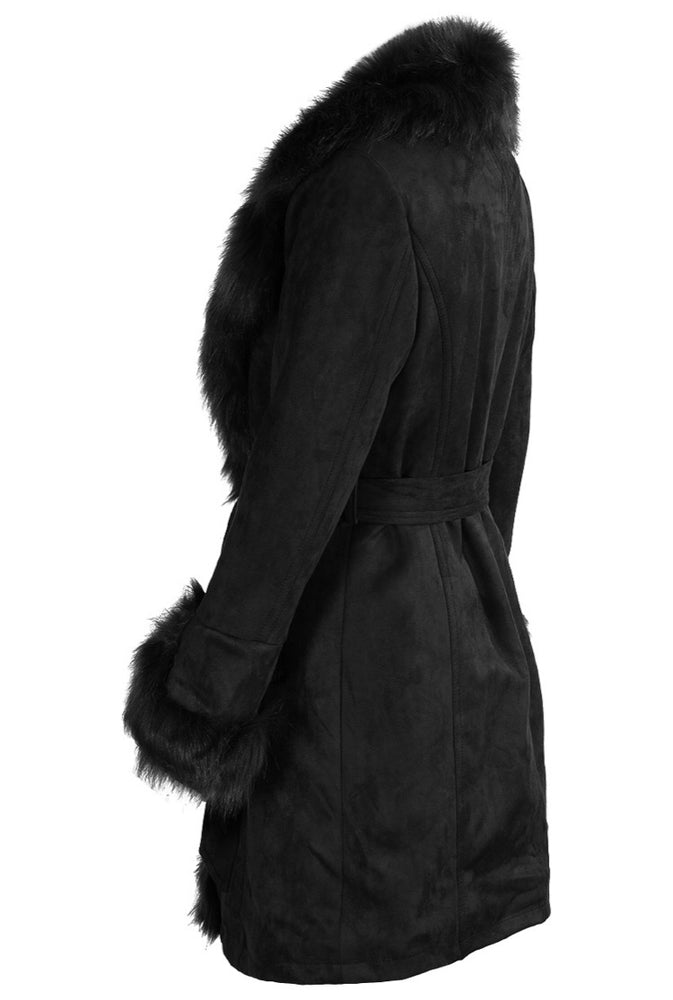 CASSIE SUEDE FAUX FUR TRIM OVERCOAT