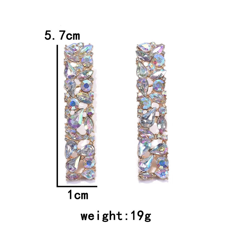 FIJI CRYSTAL LONG DROP RECTANGULAR EARRINGS