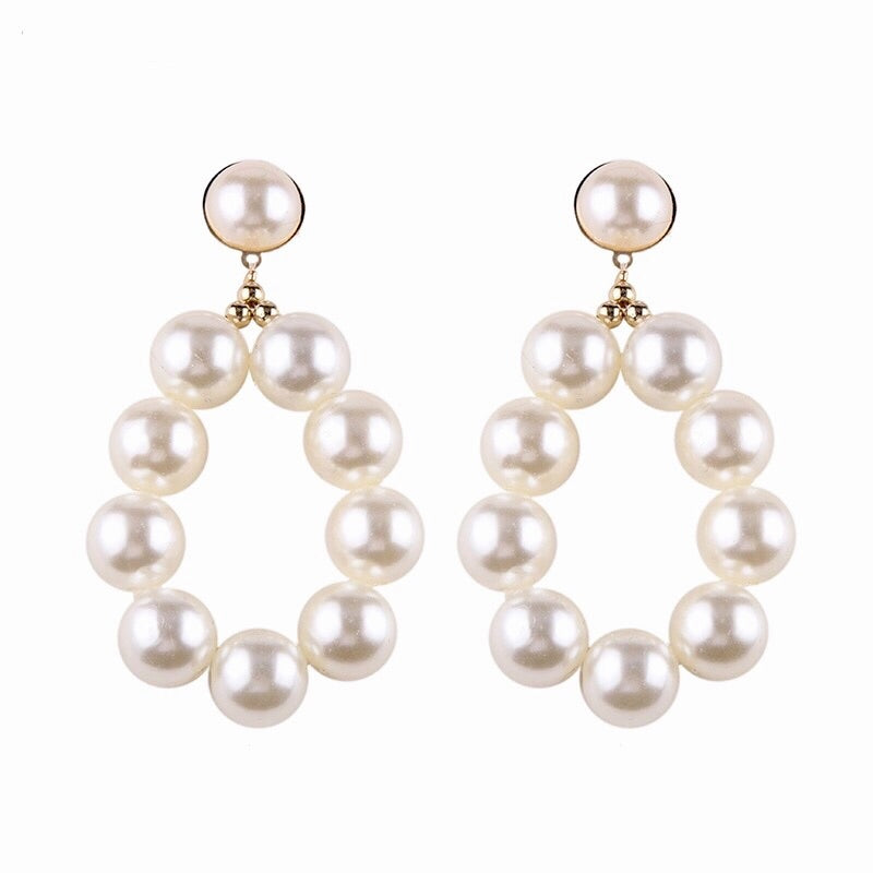 SHAY FAUX PEARL ROUND DROP EARRINGS