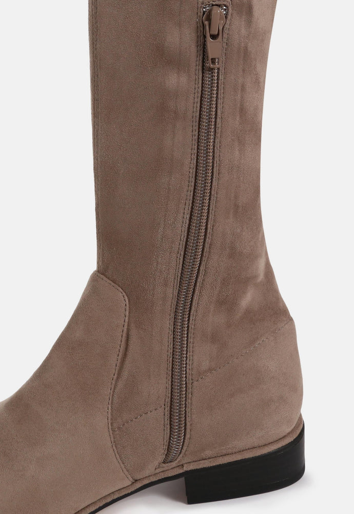 AYA MOCHA SUEDE OVER THE KNEE BOOTS