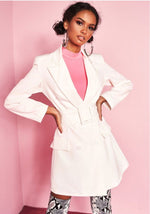 ELLA WHITE BELTED BLAZER DRESS