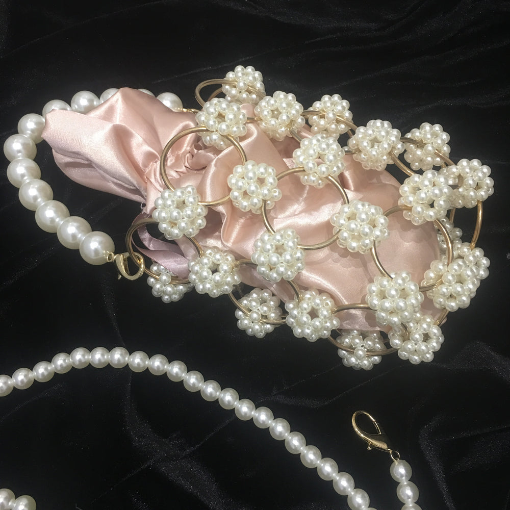 PENELOPE DUSTY PINK PEARL EMBELLISHED CREAM BAG