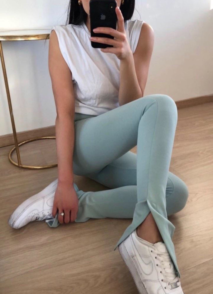 STELLA MINT GREEN SPLIT SIDE TROUSERS
