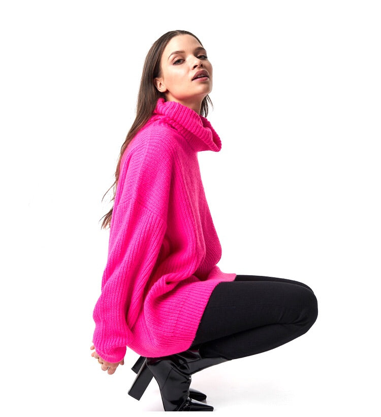 DARCY NEON KNITED OVERSIZED POLO NECK JUMPER J2