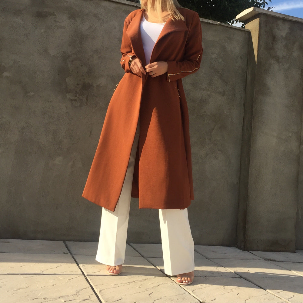 AMAYA LONG BELTED BROWN COAT