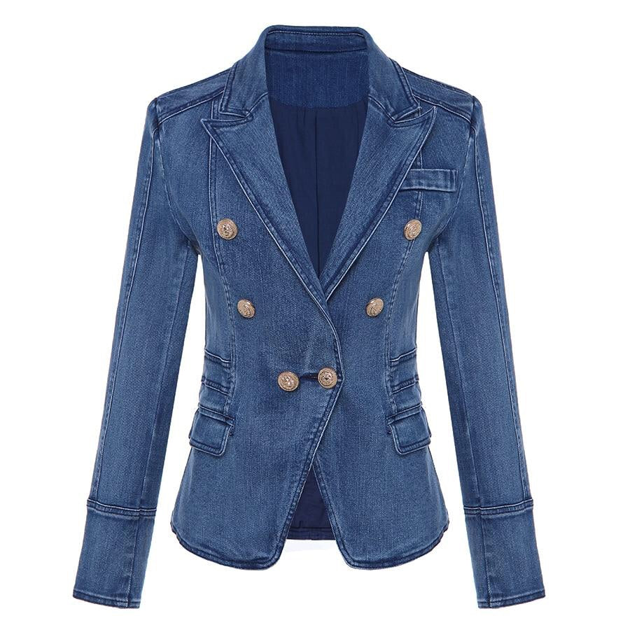 DENIM BALMAIN STYLE SLIM FIT BLAZER