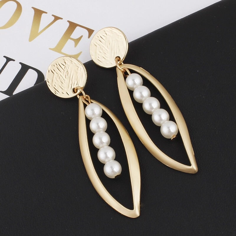 NINA FAUX PEARL  DROP EARRINGS