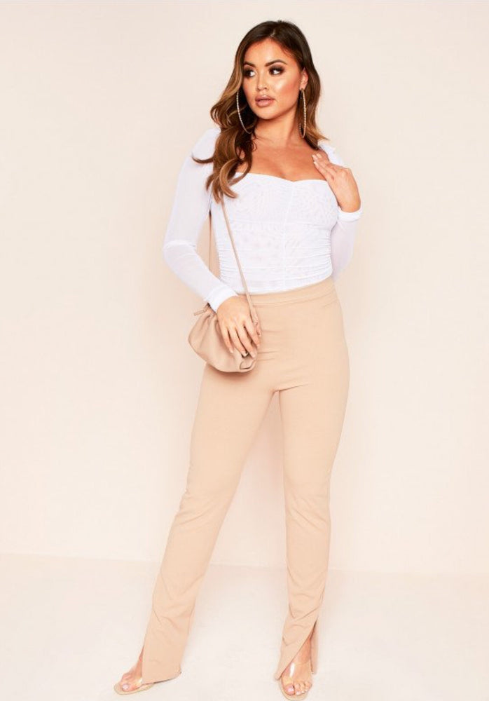 STELLA BEIGE SPLIT SIDE TROUSERS