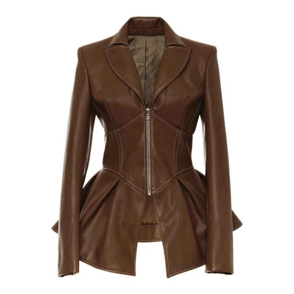 STELLA CORSET FAUX LEATHER BLAZER