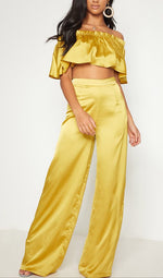 ESMERALDA SATIN HIGH WAIST WIDE LEG TROUSER