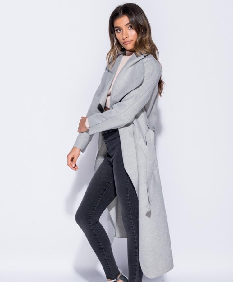 CYNTHIA GREY SHAWL COLAR SELF BELT MAXI COAT