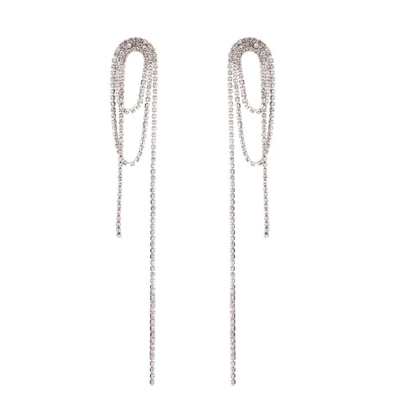 FUNEN LONG RHINESTONE DROP CRISTAL EARRINGS