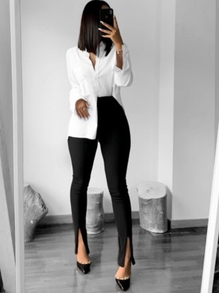 CIARA BLACK FRONT SPLIT TROUSERS