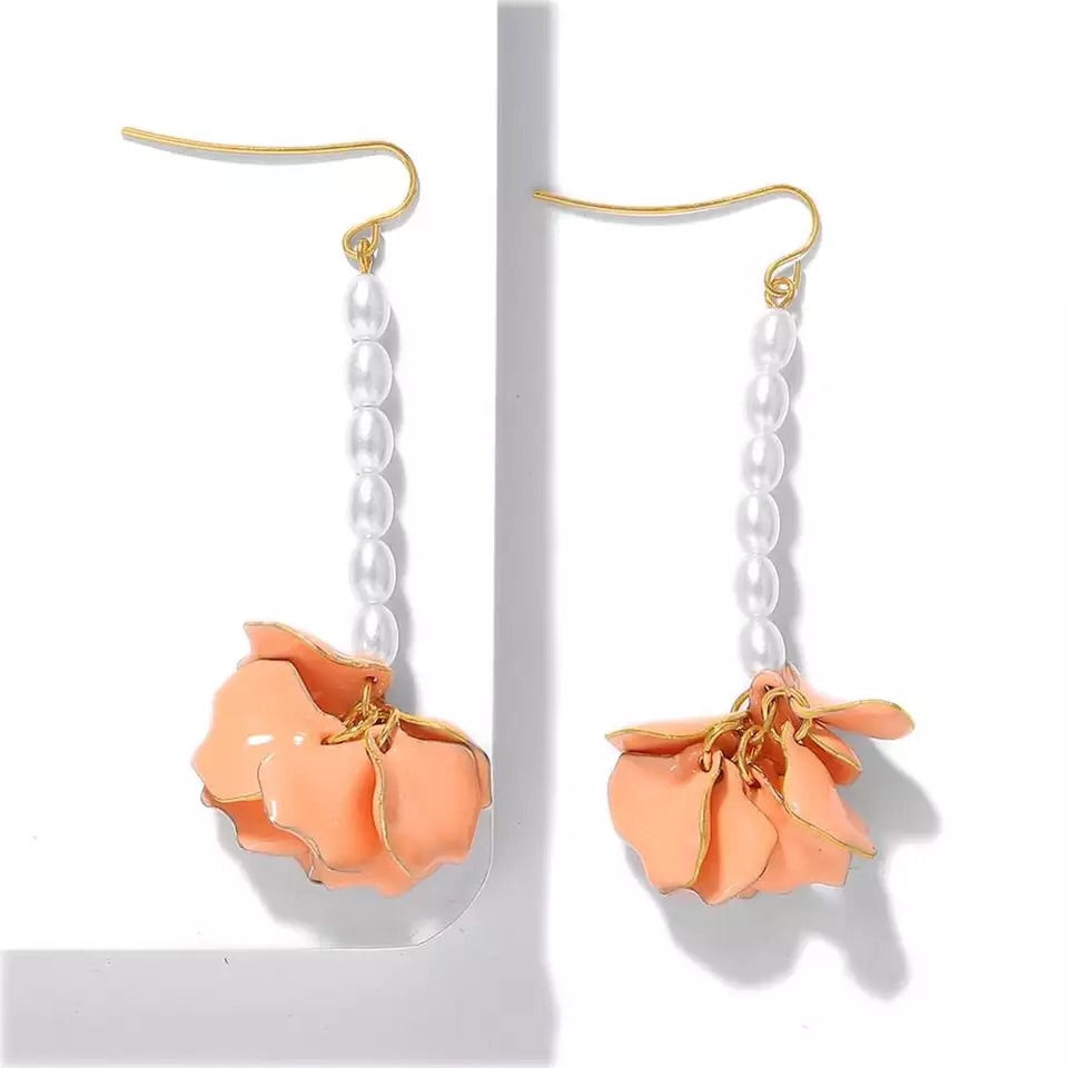 LYLA ORANGE LONG DROP EARRINGS