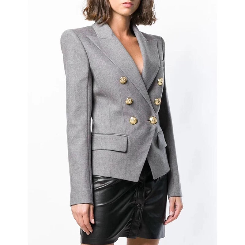 GREY WITH GOLD BUTTON BLAZER