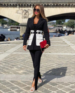 SHANA BLACK & WHITE BELTED BLAZER WITH LARGE POCKETS