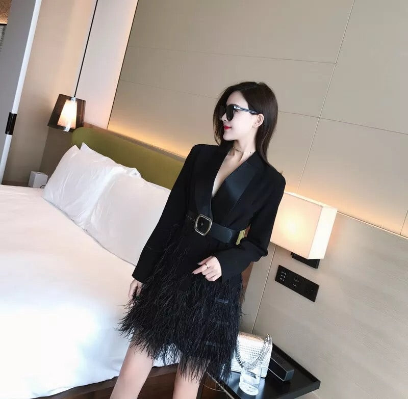 LICIA BLACK BELTED  BLAZER DRESS WITH FEATHERS