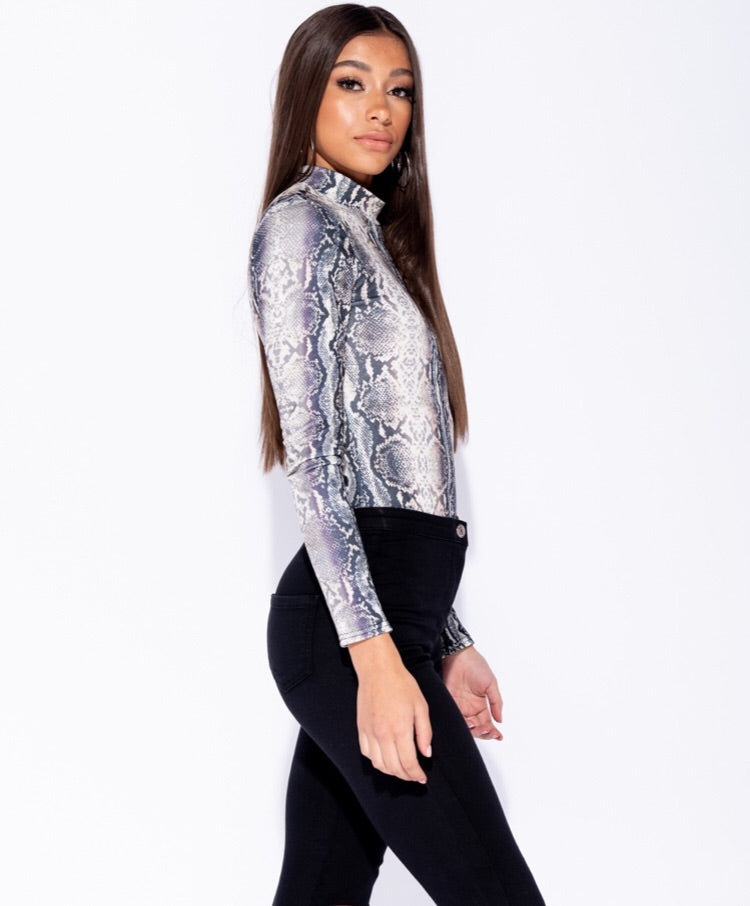 SNAKE PRINT HIGH NECK BODYSUIT B3
