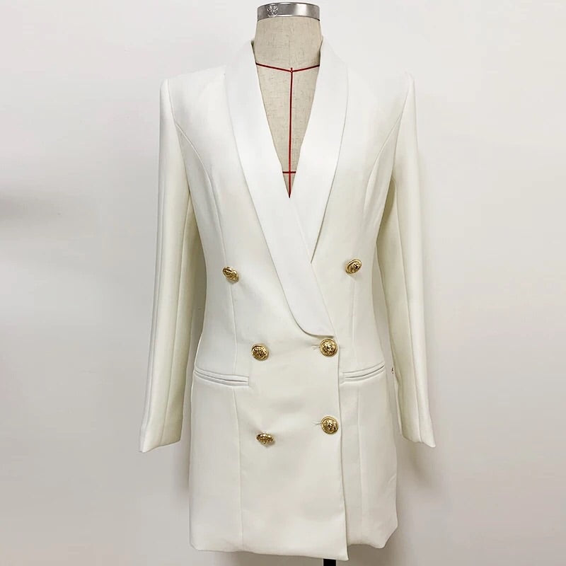 WHITE SATIN COLLAR BLAZER DRESS WITH GOLD BUTTONS