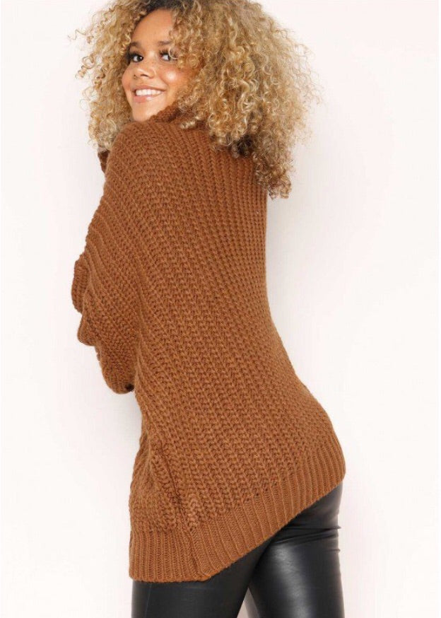 REBECCA BROWN CABLE KNIT ROLL NECK OVERSIZE JUMPER J1
